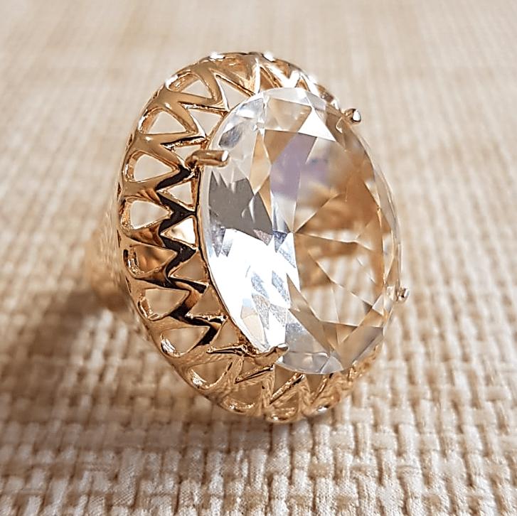 Anel cristal white oval 15x20mm , com bordas em desenho gotas vazadas