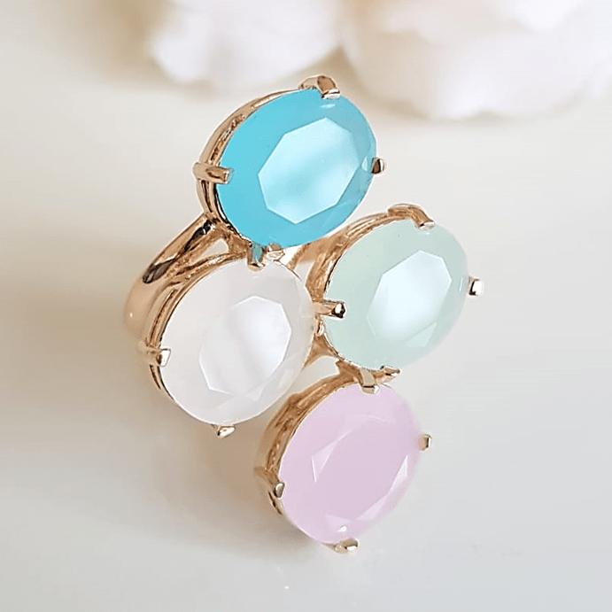 Anel cristais multicolor - modelo Jolie cor 1