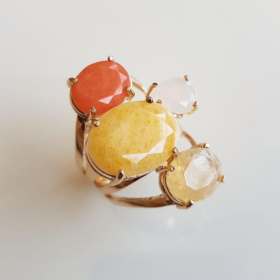 Anel cristais multicolor - modelo Sophia cor 1