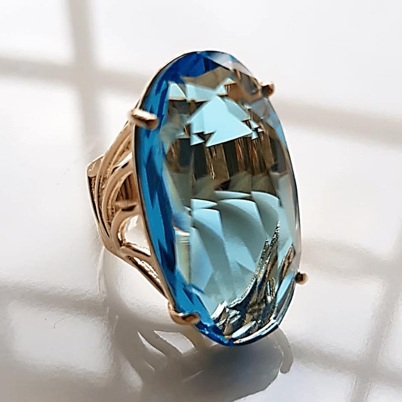 Anel cristal azul aquamarine oval  30x15mm - modelo Florence