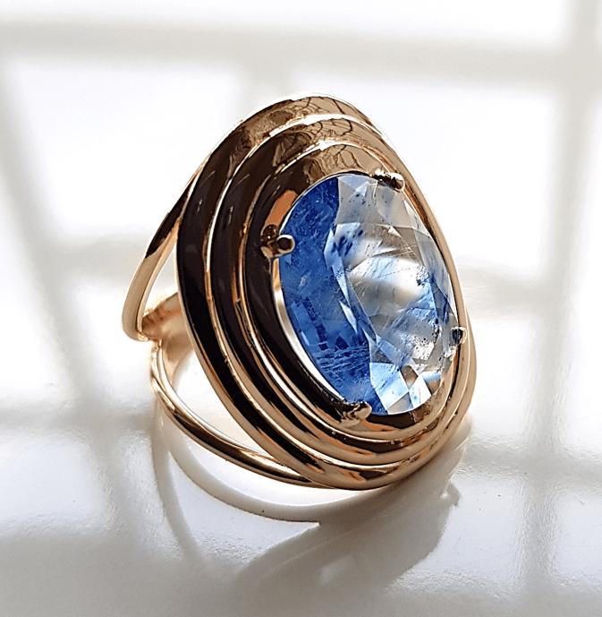 Anel cristal azul rutilado oval 16X12MM - modelo Fortune