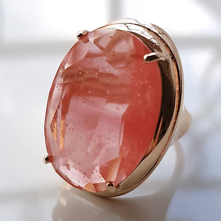 Anel cristal cherry oval 25x18mm - Modelo Desiree