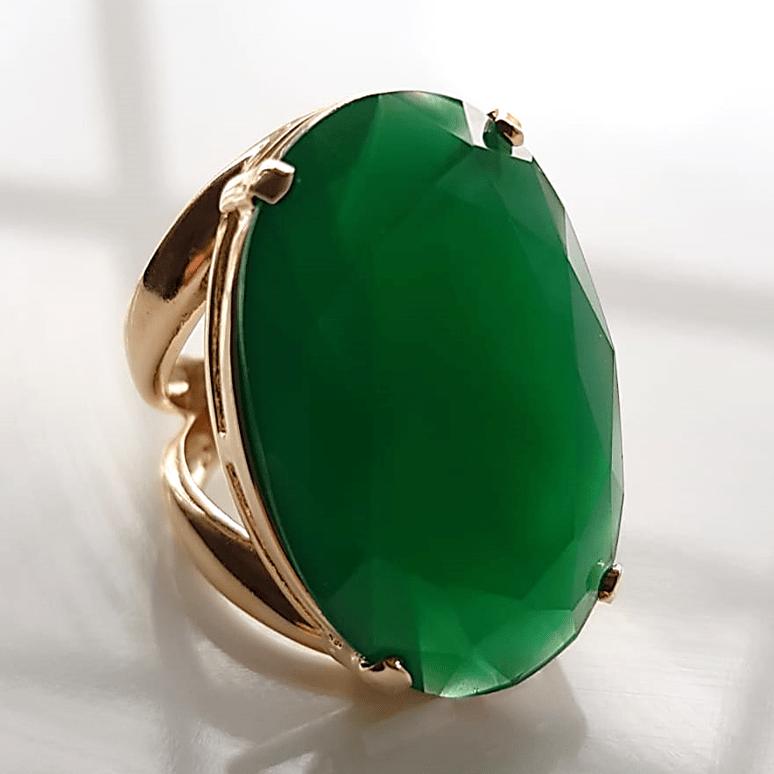 Anel cristal verde esmeralda oval 30 x 20mm - Modelo Morgana