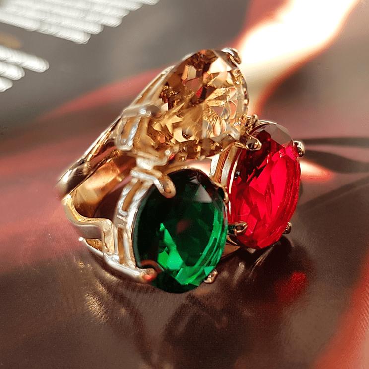Anel cristais multicolor - rubi/esmeralda