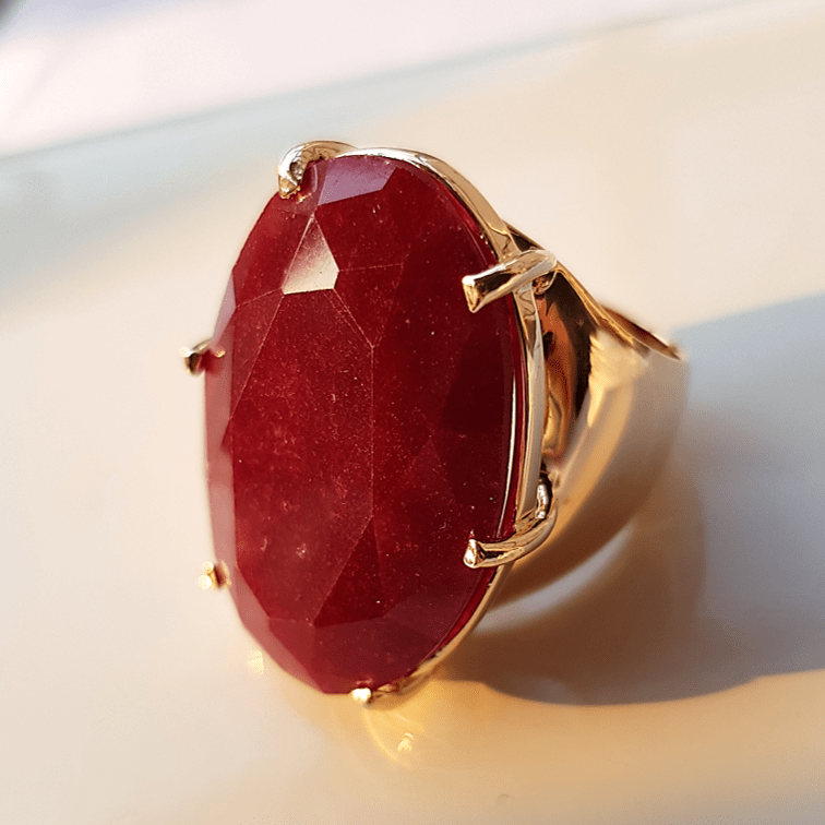 Anel pedra natural rubilita oval 20x30mm - aro fechado