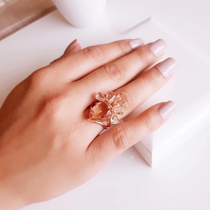 anel Della Flora cristais champanhe