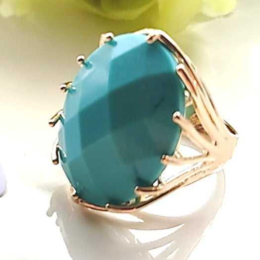 Anel cristal cor turquesa oval 25x18mm modelo Melissa