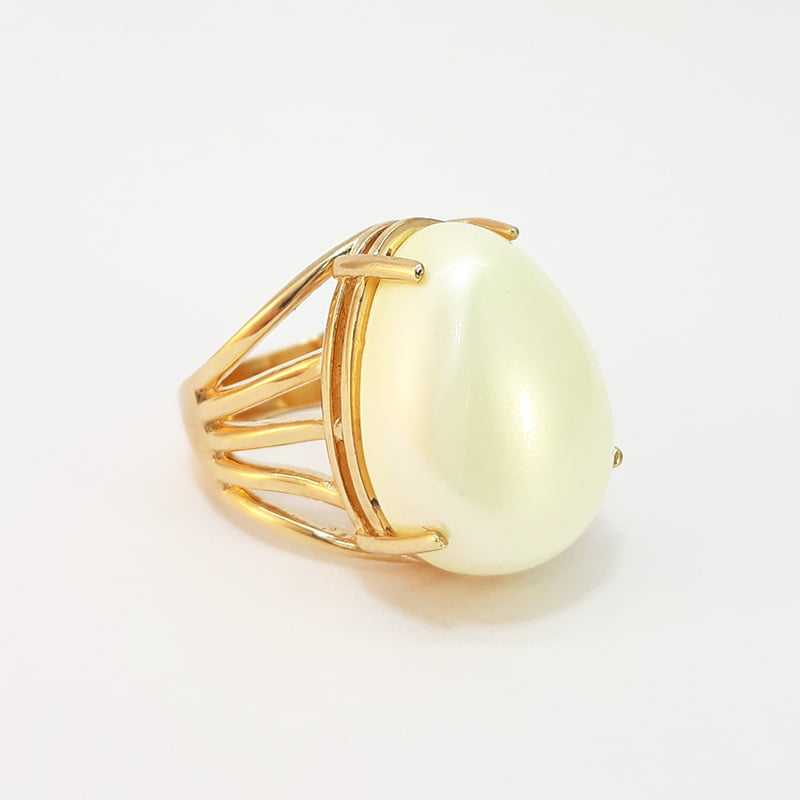 anel  pérola shell mabe 15x20mm - gota