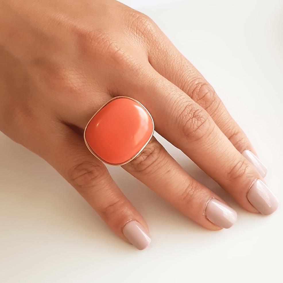 anel pedra retangular ovalada - sintética