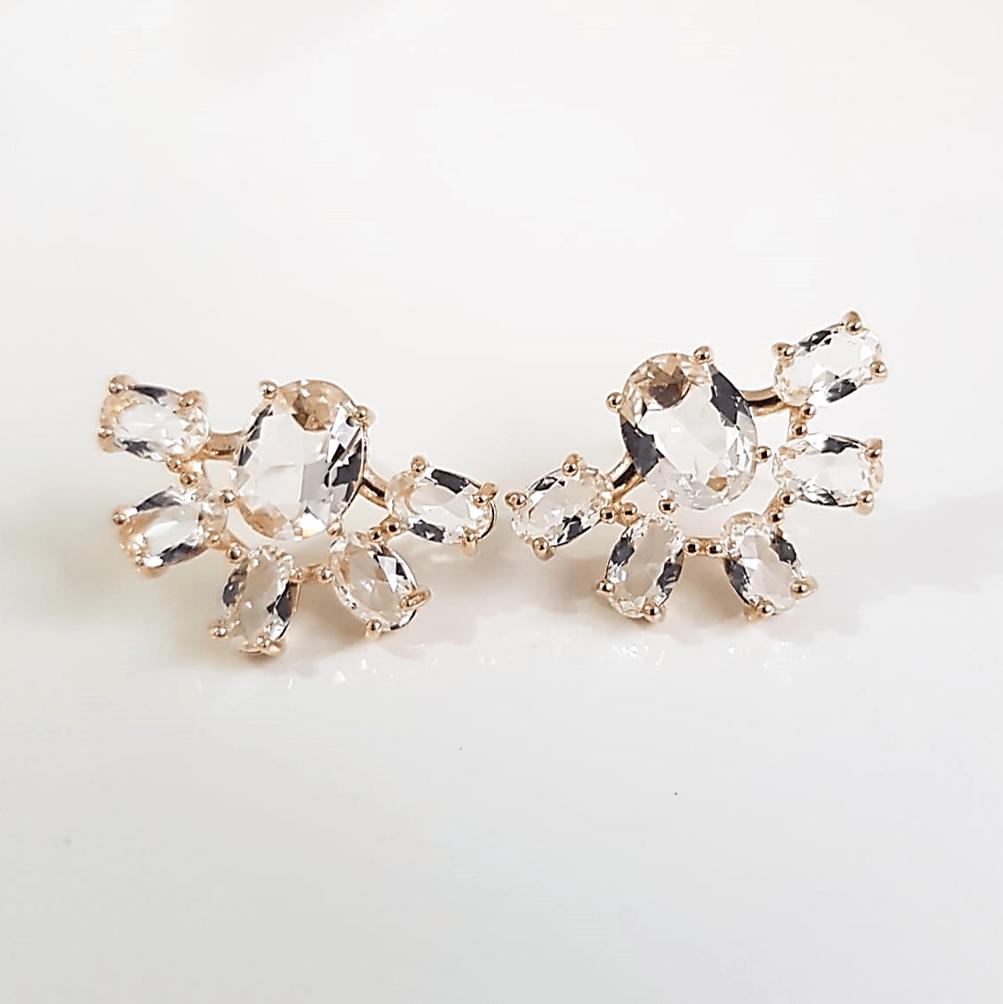 Brinco de cristais white