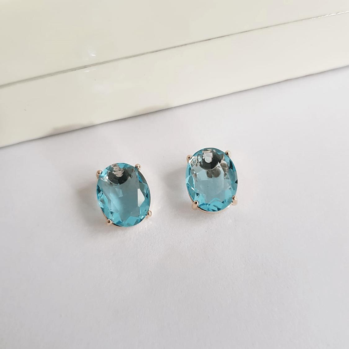Brinco botão de cristal azul aquamarine 8x10mm