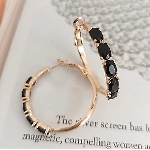 Brinco de argola cristais preto ônix - modelo Camilla