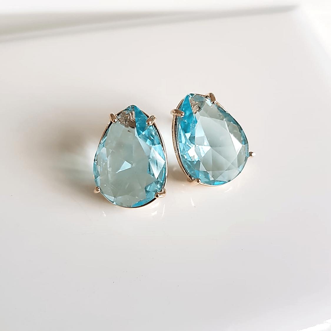 Brinco de cristal azul aquamarine-gota  1