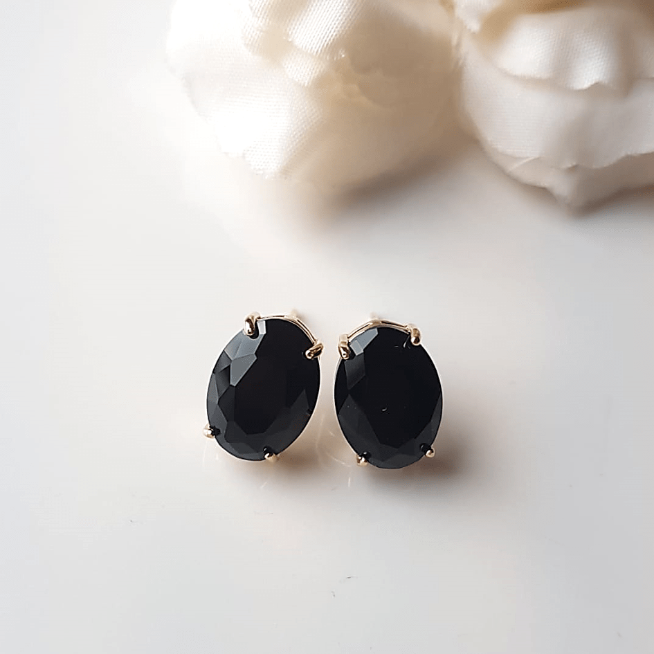 Brinco botão cristal preto ônix-oval 10x15mm