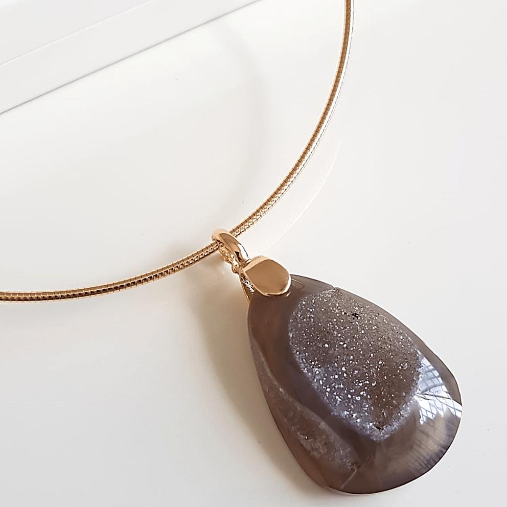 1-Colar aro com pedra natural druza (peças únicas! )