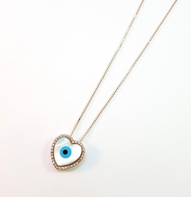 colar com pingente olho grego - curto com corrente veneziana