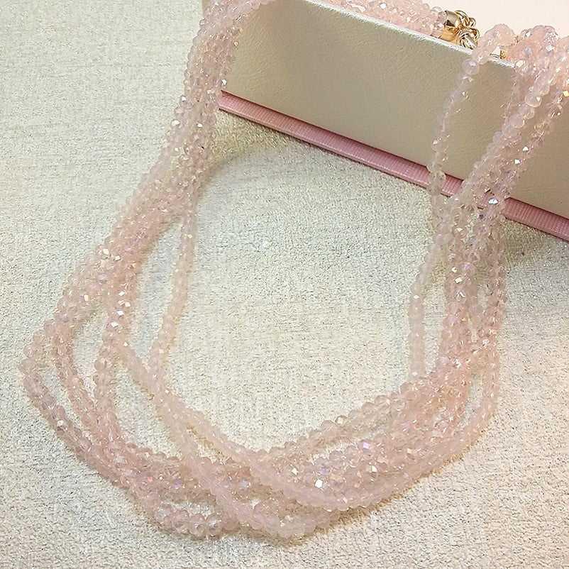 colar cristais rondel - 5 voltas - cor rosa