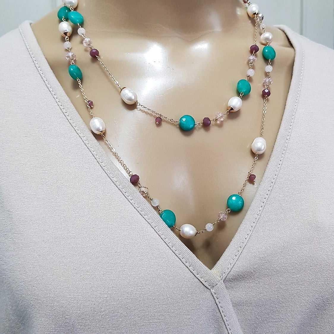 colar pedras naturais , cristais e pérolas - colorido