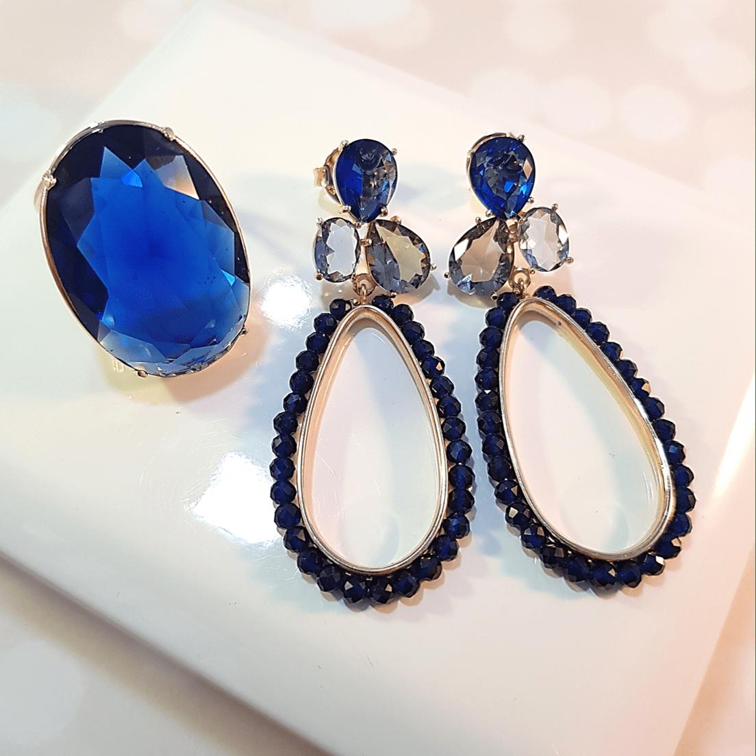 Brinco Dela Flora de cristais - azul safira bordado