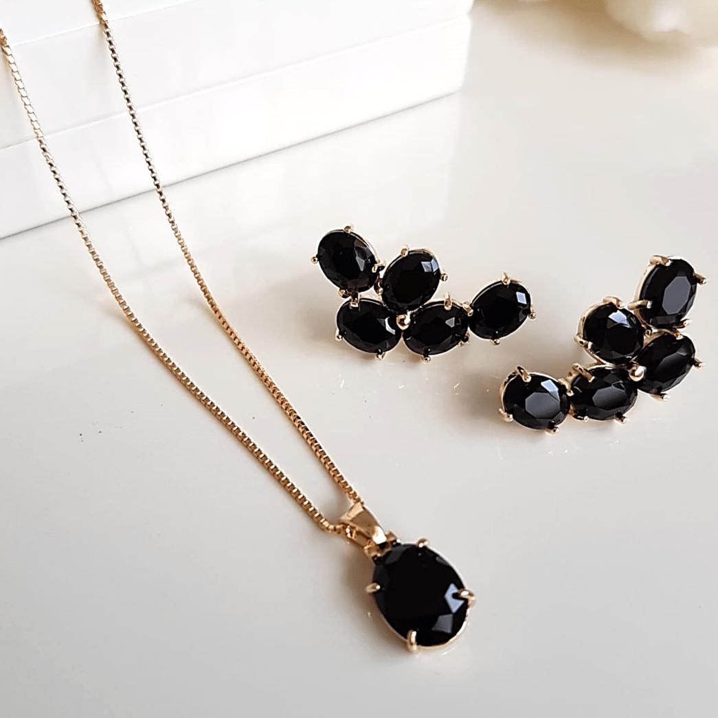 Conjunto colar e brinco de cristais preto ônix