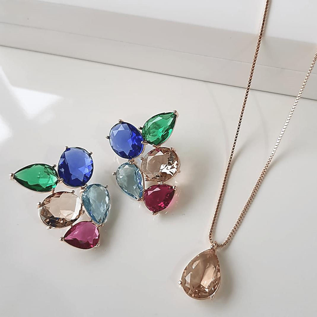 1-Conjunto de cristais multicolor - colar e brinco
