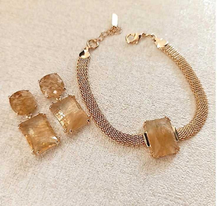 conjunto semijoia brinco com pulseira design geométrico