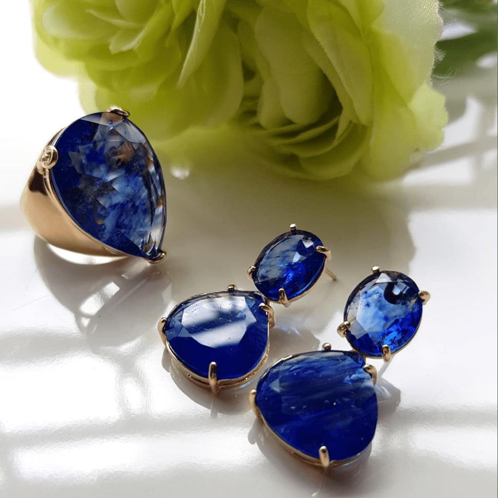 Anel e brinco de cristal gota azul rutilado
