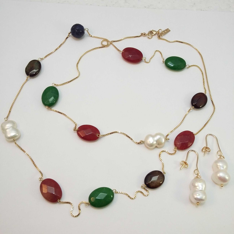 Conjunto colar longo colorido com brinco pérola barroca