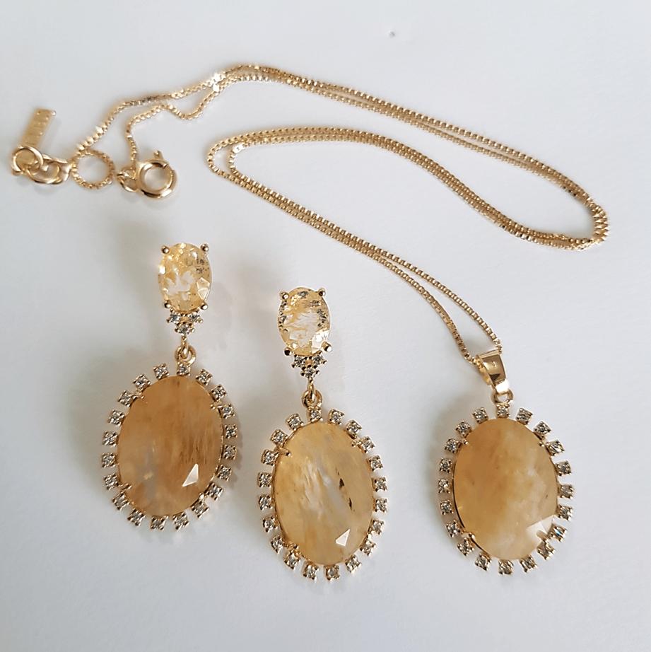 Conjunto clássico de cristal rutilado com zircônias - colar e brinco