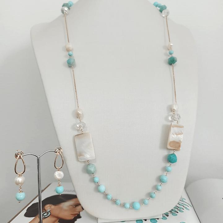 Conjunto colar longo e brinco - turquesa