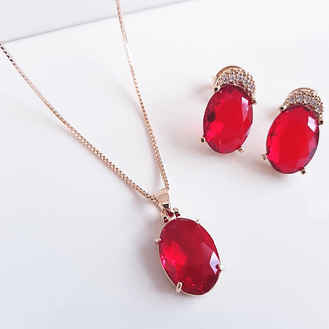 Conjunto cristal vermelho rubi - colar curto e brinco botão