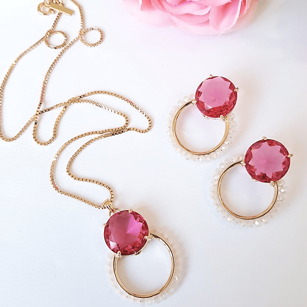 Conjunto cristal rosa turmalina com bordado - colar curto e brinco