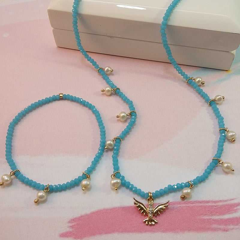 Conjunto de Colar e pulseira- pérolas e cristais rondel azul adocicado 2