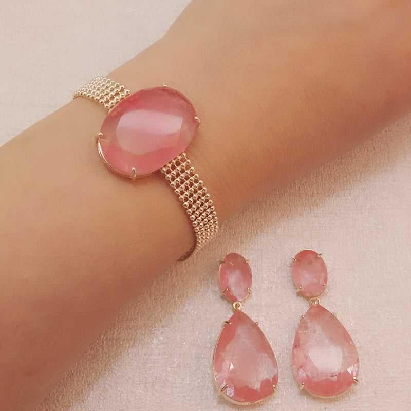 conjunto de pulseira corrente malha fita com pedra oval e par de brincos - cor cherry