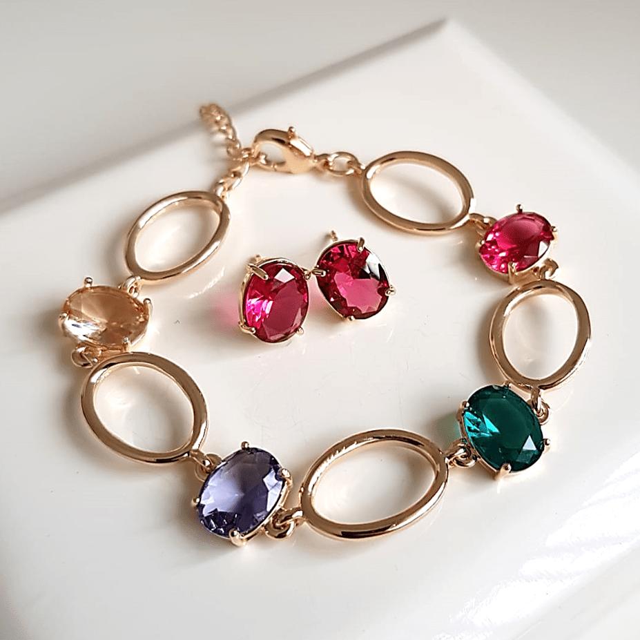 Conjunto pulseira de elos e brinco com cristais multicolor