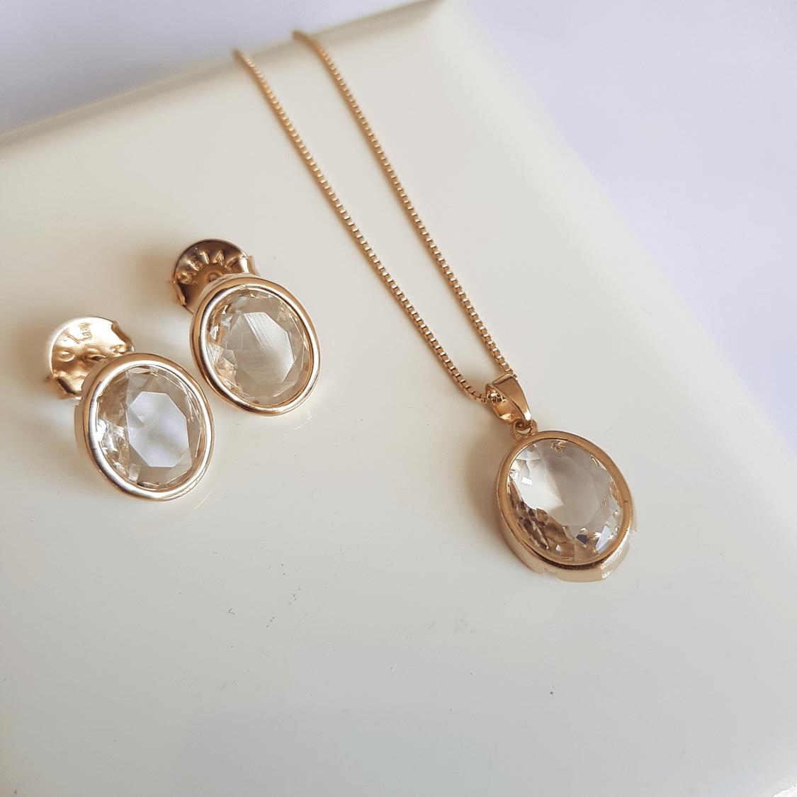 conjunto Daily cristal white oval - colar e brinco