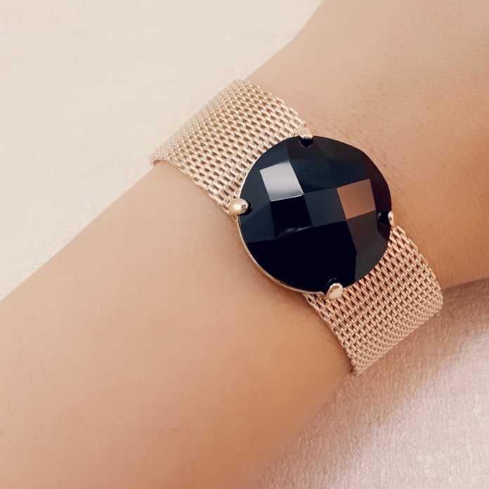 Pulseira bracelete pedra preta