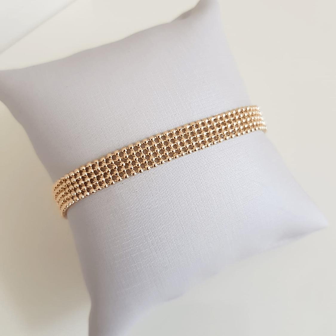 Pulseiras de malha fita dourada - Dois tamanhos 18,5 cm e 15,5 cm