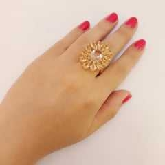 anel cristais cor citrino -  linha Festa