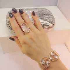 Pulseira bracelete - centro pedras- CRISTAL RUTILADO
