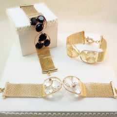 Pulseira bracelete - centro pedras- CRISTAL WHITE