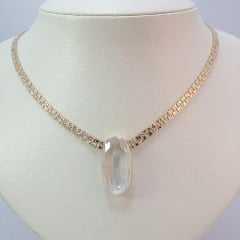 colar curto de corrente malha fita com centro cristal oval - CRISTAL WHITE