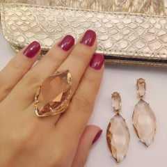 Conjunto anel de cristal navete com brincos - GOLDEN SHADES