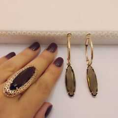 conjunto de brinco argola e anel oval alongado- quartzo fumê