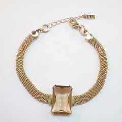 Pulseira bracelete - centro pedra retangular- golden shades