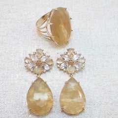 Conjunto de brinco cristais com anel - rutilo