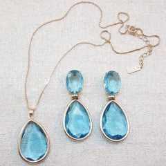 Conjunto de colar corrente curta com par de brincos - cristais azul aquamarine