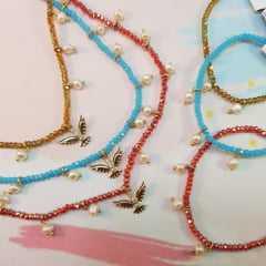 Conjunto de Colar e pulseira- pérolas e cristais rondel vermelho cereja