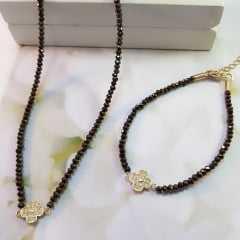 Colar de choker de cristais marrom cobreado + pulseira