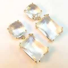 Brinco cristal white ,formato retangular